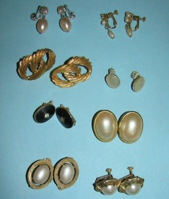 8 Pairs MCM Vintage to Now Monet NapierTrifari Clip On Screw Back Earrings Lot