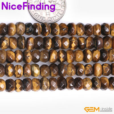 """Natural Rondelle Yellow Tiger Eye Stone Spacer Beads Jewelry Making Strand 15""""NF"""