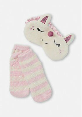 Justice Girl's Unicorn Eye Mask & Slipper Socks Set New with Tags
