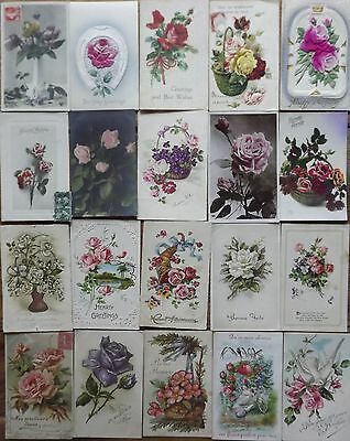 LOT N° 681 de 20 CPA FANTAISIES Theme ROSES FLOWERS Gaufrée Illustrée