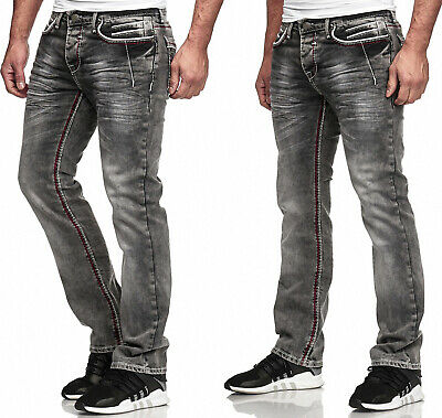 Herren Jeans Hose Washed Straight Cut Regular Stretch Dark Grey