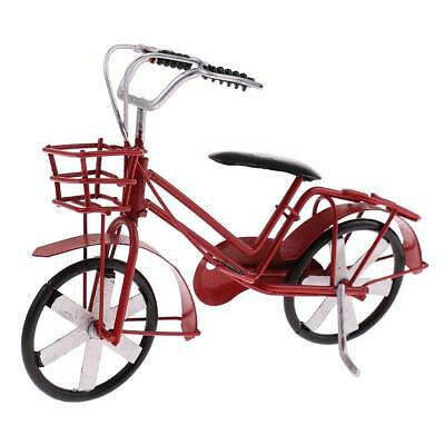Bike Cycling Model Red Bicycle Retro Collection for Kids Toy Desk Decoration