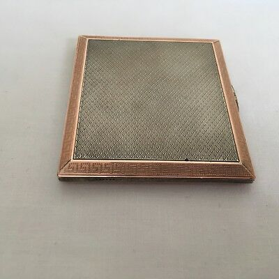Vintage Art Deco Sterling Silver Rose Gold Engine Turned Cigarette / Card Case