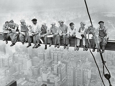 IRON WORKERS ART PRINT - Lunch on a Skyscraper, 1932 Charles Ebbets 23x35 Poster