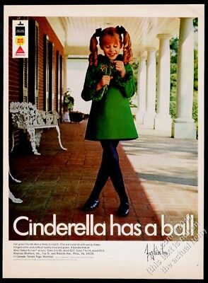 1968 Cinderella girl's mod green dress photo vintage fashion print ad