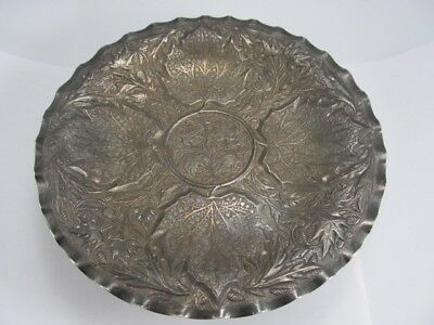 Leaf Theme 800 Silver Extraordinarily Detailed Footed Stand / Centerpiece Xlnt