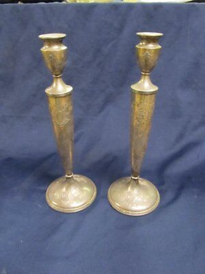 """Finely Tooled Sterling Flower Candlesticks 227S Slight Flaws 11 7/8""""  Monograms"""