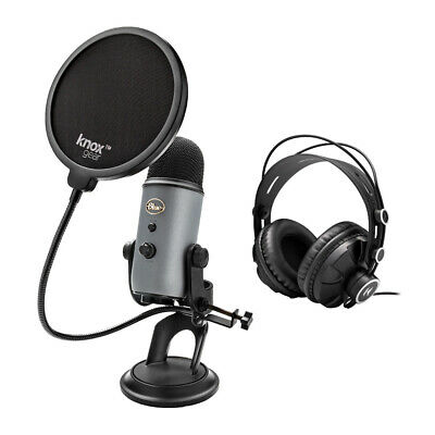 Blue Microphone Yeti USB Microphone (Slate) with Headphones and Knox Pop Filter
