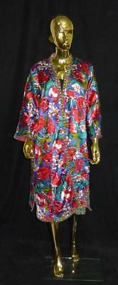 Long Traditional Uzbek Tajik Handmade Natural Silk Colorful Chapan Kaftan L376