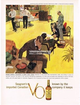1959 SEAGRAM'S VO Whiskey Businessmen Lunch Meeting art VTG Print Ad