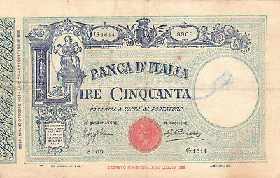 50 Lire Fine Banknote From Italy 1934!pick-47