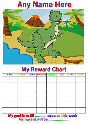 Personalised Childrens A4 Reward Behaviour Chart Dinosaur T Rex And Stickers !