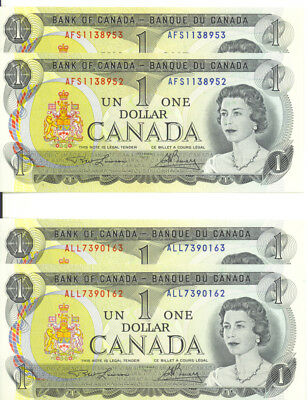 Bank of Canada 1973 $1 Lot of 2 Consecutive Pairs GEM UNC