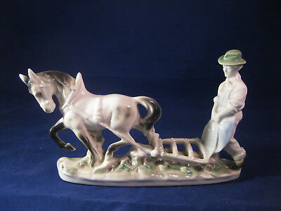 *RARE*  Vintage E&R Germany Figurine Man with Horse & Plow - Ebeling & Reuss