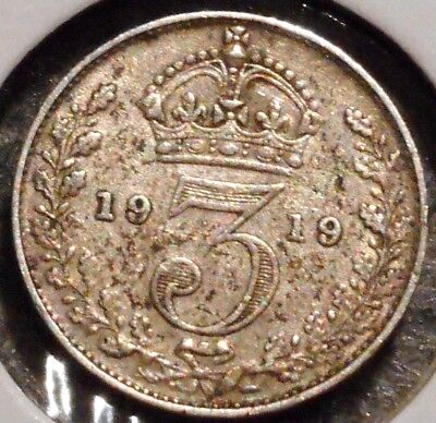 British Silver Threepence - 1919 - King George V - $1 Unlimited Ship