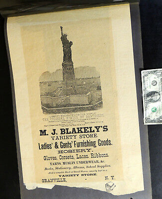 Antique vtg 1886 STATUE of LIBERTY Victorian Store BROADSIDE Poster Granville NY