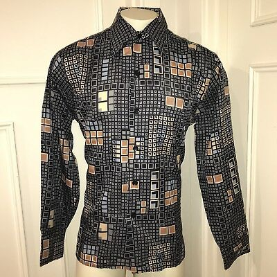 NEW Vtg 60s 70s Kings Road SEARS Polyester Mens XL Disco Button Dress shirt NOS
