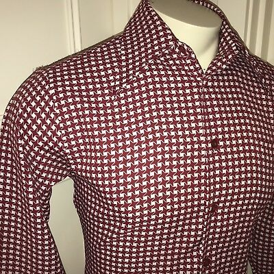 Vtg 60s 70s Kings Road SEARS Mens MEDIUM Burgundy White POLYESTER Disco shirt M