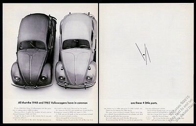 1965 VW Volkswagen Beetle classic & 1948 bug car photo 20x13 vintage print ad