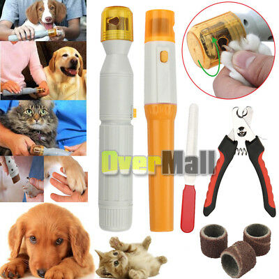 Electric Dog Cat Pet Toe Care Grooming Clipper Grinder Nail Trimmer Tool Kit USA