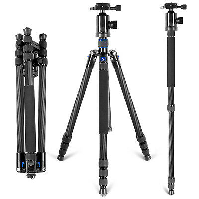 Neewer Carbon Fiber Camera Tripod Monopod with 360 degree Ball Head (Blue)