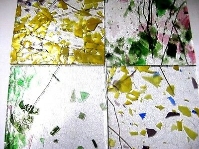4 Confetti Stained Glass Hobby Sheets 100mm x 100mm x 3mm  Quality Craft Items