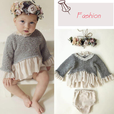 Fashion Vintage Newborn Baby Girls Sweater Tops Dresses Skirts Clothes T-shirt