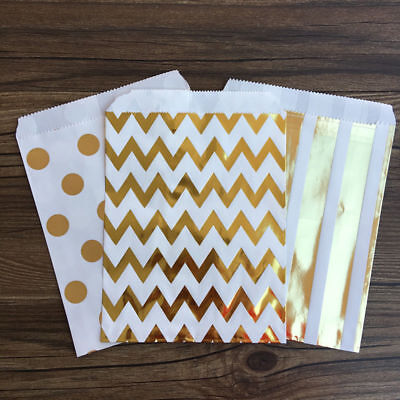 50X Wave Stripe Spot Foil Gold Paper Party Candy Sweet Cookie Bags Free Sticker