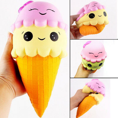 22cm Squishy Ice Cream Cone Jumbo Slow Rising Soft Squeeze Stress Toy For Kids