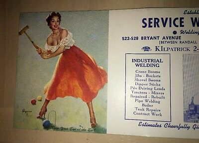 Sexy Pin Up Girl Blotter Elvgren Art Welder Bronx New York Vintage Croquet