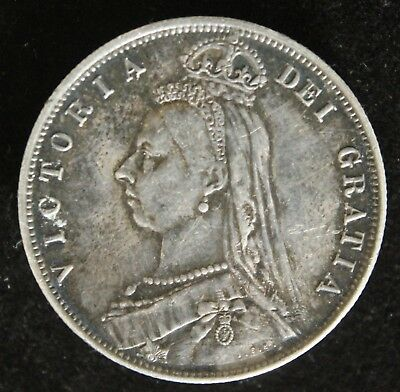 1887 Great Britain Half Crown - Lovely, but X Mount Pin Back