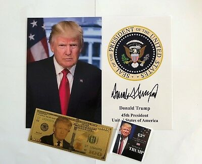 """President Donald Trump 8 1/2"""" x 11 on Card Stock...Photo Portrait Picture + $100"""