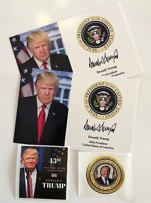 """2 President Donald Trump 4""""x6""""..on Card Stock..Photo Portrait Picture + 2 Decals"""