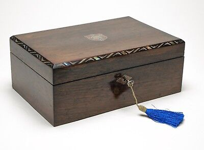 Antique Rosewood Work Box with Abalone Shell Inlay & Working Lock with Key