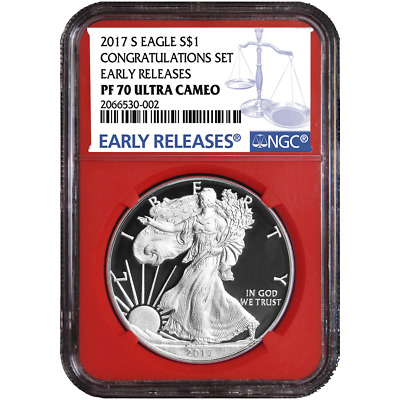 2017-S Proof $1 American Silver Eagle Congratulations Set NGC PF70UC Blue ER Lab