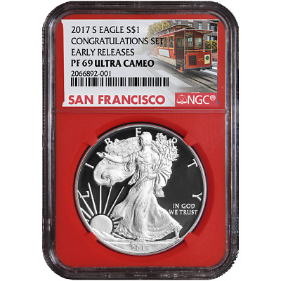 2017-S Proof $1 American Silver Eagle Congratulations Set NGC PF69UC Trolley ER