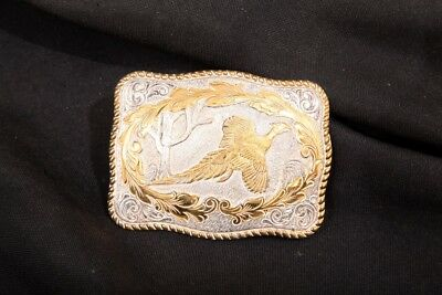 Vintage Crumrine MFG Co. Reno Nevada Pheasant Hunting Silver Plated Belt Buckle