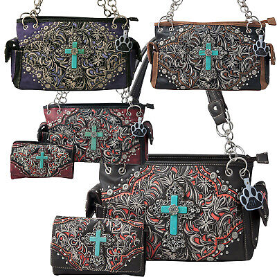 Western Style Handbag Turquoise Cross Embroidery Concealed Carry Purse Wallet