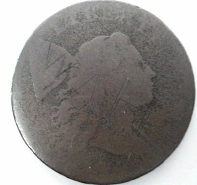 1794 1C Head of 1794 BN Flowing Hair Large Cent with graffiti