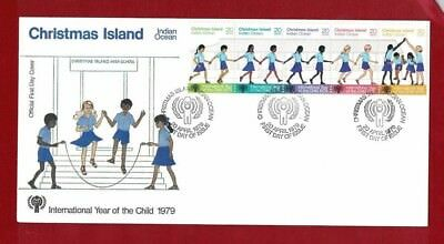 1979 Christmas Island Year of the Child SG 108/12 strip 5 FDC or fine used