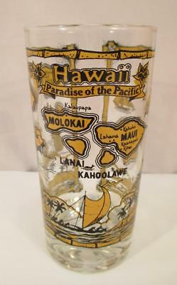 Vintage HAWAII State Souvenir Drinking Glass Paradise of the Pacific