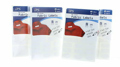 Lot of 180 IPS No Iron Writable Fabric Labels Assorted Sizes
