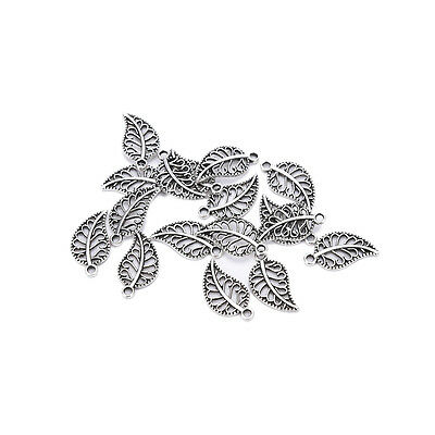 50 Assorted Leaves Tibetan Silver Alloy Charm Pendants DIY Jewelry Finding