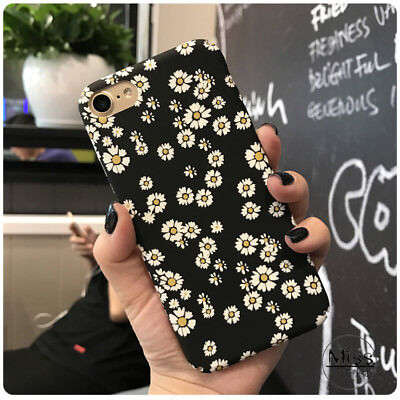 Trendy Black Daisy Flower Floral Hard Full Case Cover for iPhone XS Max XR 6S