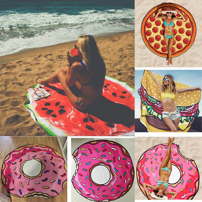 Round Fruit 3D Printing Pool Shower Beach Towel Sunscreen Shawl Scarf Blanket