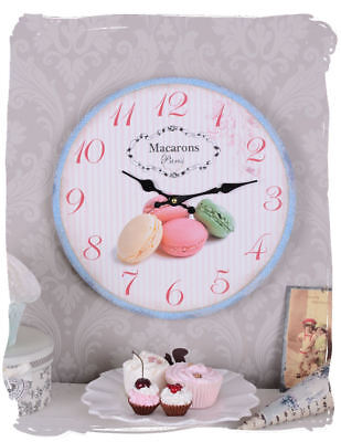 Wall Clock Macarons Paris Vintage Watch Shabby Chic Kitchen Clock