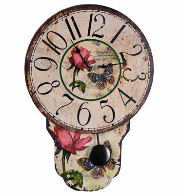 Wall Clock in Country House Style Pendulum Roses & Butterflies Watch Vintage