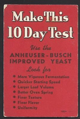 Anheuser-Bush Improved Yeast - Ink Blotter - 10 Day Test