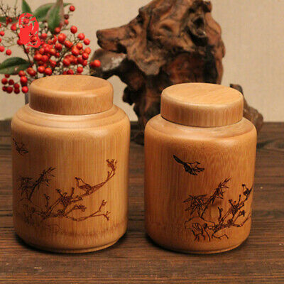 Bamboo Tea Storage Box Canister Box Tea Coffee Candy Seal Storage Bottles