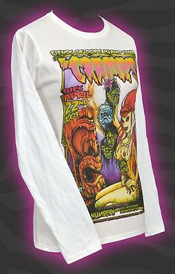 THE CRAMPS WOMENS LONG SLEEVE TOP JOHNNY ACE STUDIOS PIN-UP TIKI DOPE ISLAND